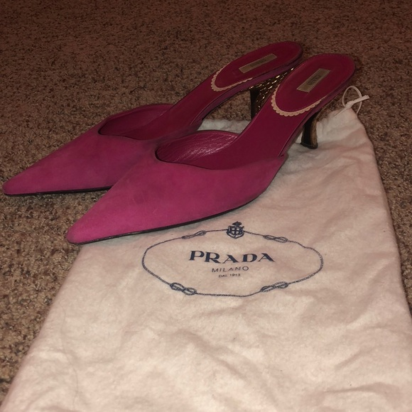 5a2bea48d7be3 Prada Shoes | Authentic Magenta Suede Mules Kitten Heels | Poshmark